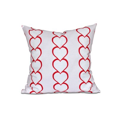 Valentines Day Heart Chain Throw Pillow Color: Fuchsia, Size: 18 H x 18 W