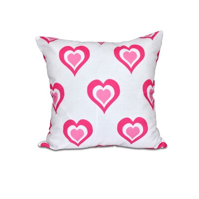 Valentines Day Throw Pillow in White Size: 16 H x 16 W, Color: Red