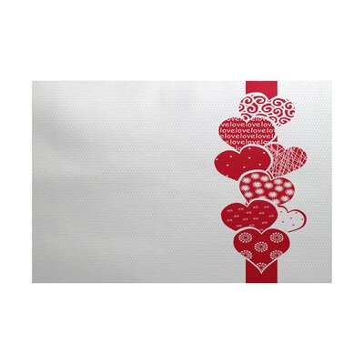 Valentines Day Red Indoor/Outdoor Area Rug Rug Size: 3 x 5