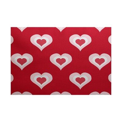 Valentines Day Red Indoor/Outdoor Area Rug Rug Size: 4 x 6