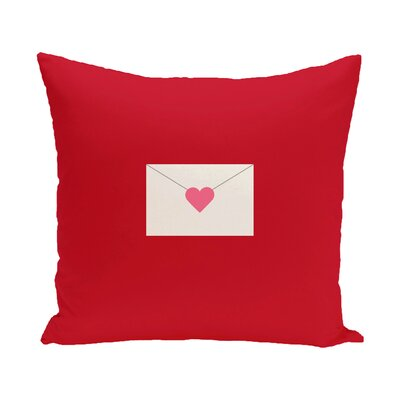 Valentines Day Envelope Throw Pillow Size: 16 H x 16 W, Color: Pale Pink