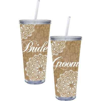 "Bride and Groom"" 20 oz. Burlap Cup with Straw and Twist Off Lid HLDY6078 33811682"
