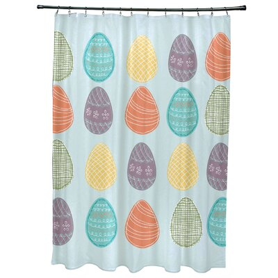 Funky Junky Eggs-ellent! Shower Curtain Color: Aqua