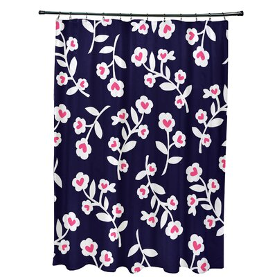 Valentines Floral Shower Curtain Color: Navy Blue