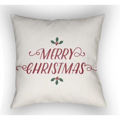 Merry Christmas Indoor/Outdoor Throw Pillow Size: 20 H x 20 W x 4 D, Color: White