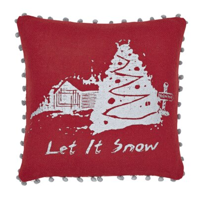 Let It Snow Burlap Throw Pillow