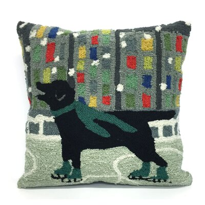 Holiday Ice Dog Throw Pillow Color: Green