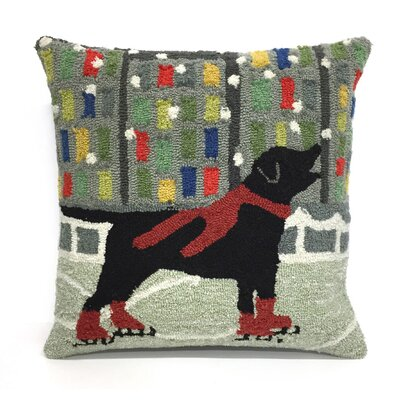 Holiday Ice Dog Throw Pillow Color: Red
