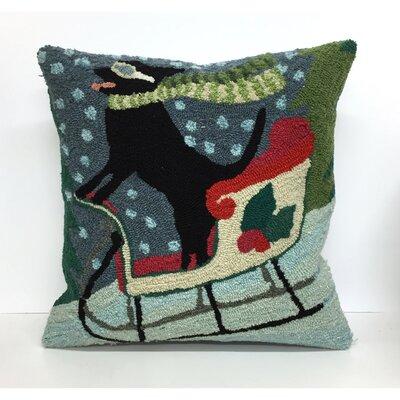 Sledding Dog Throw Pillow
