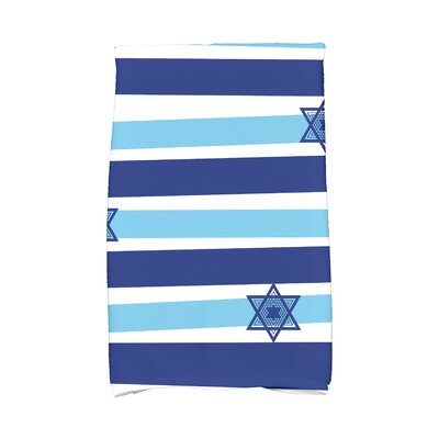 Hanukkah Star Stripes Hand Towel Color: Light Blue