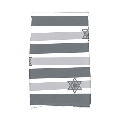 Hanukkah Star Stripes Hand Towel Color: Gray
