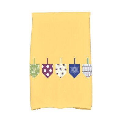 Hanukkah Doodled Dreidels Hand Towel Color: Yellow