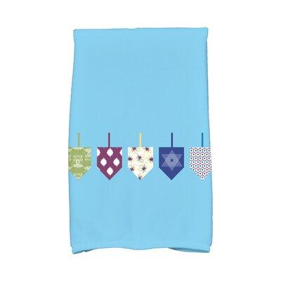 Hanukkah Doodled Dreidels Hand Towel Color: Blue