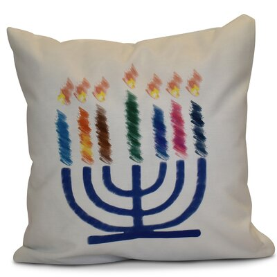 Hanukkah 2016 Decorative Holiday Geometric Outdoor Throw Pillow Size: 18 H x 18 W x 2 D, Color: White