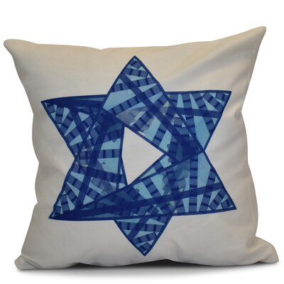 Hanukkah 2016 Decorative Holiday Geometric Outdoor Throw Pillow Color: Royal Blue, Size: 18 H x 18 W x 2 D