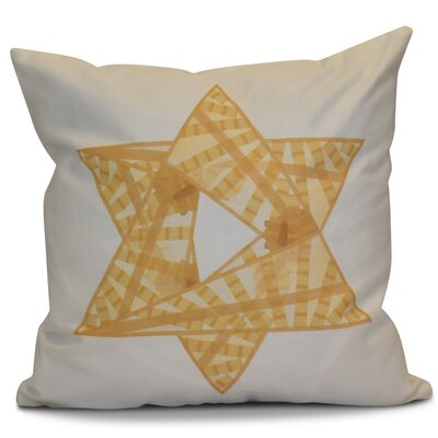 Hanukkah 2016 Decorative Holiday Geometric Outdoor Throw Pillow Size: 16 H x 16 W x 2 D, Color: Gold