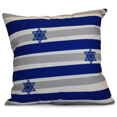 Hanukkah 2016 Decorative Holiday Striped Outdoor Throw Pillow Size: 20 H x 20 W x 2 D, Color: Royal Blue
