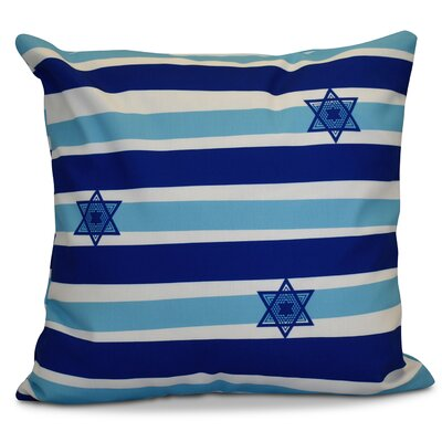 Hanukkah 2016 Decorative Holiday Striped Outdoor Throw Pillow Color: Light Blue, Size: 18 H x 18 W x 2 D