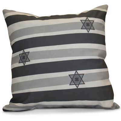 Hanukkah 2016 Decorative Holiday Striped Outdoor Throw Pillow Size: 20 H x 20 W x 2 D, Color: Gray