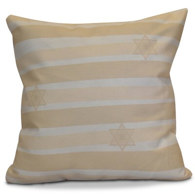 Hanukkah 2016 Decorative Holiday Striped Outdoor Throw Pillow Size: 18 H x 18 W x 2 D, Color: Cream / Off White