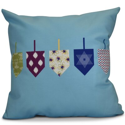 Hanukkah 2016 Decorative Holiday Geometric Outdoor Throw Pillow Size: 20 H x 20 W x 2 D, Color: Light Blue