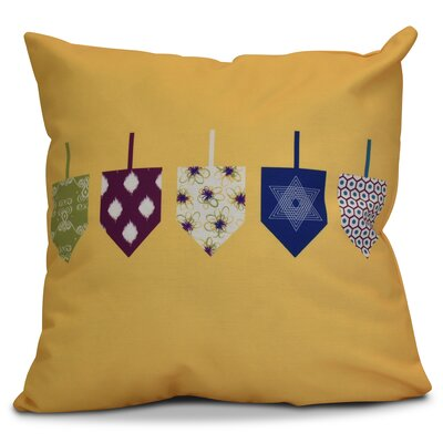 Hanukkah 2016 Decorative Holiday Geometric Outdoor Throw Pillow Size: 16 H x 16 W x 2 D, Color: Yellow