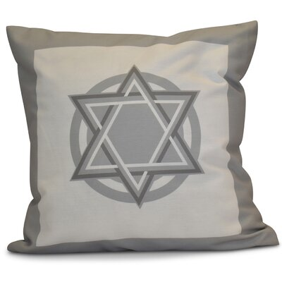 Hanukkah 2016 Decorative Holiday Geometric Outdoor Throw Pillow Size: 18 H x 18 W x 2 D, Color: Gray
