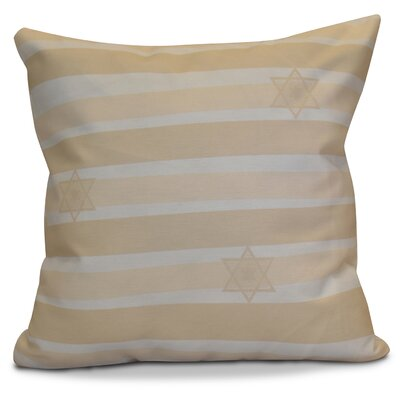 Hanukkah 2016 Decorative Holiday Striped Throw Pillow Size: 18 H x 18 W x 2 D, Color: Cream / Off White