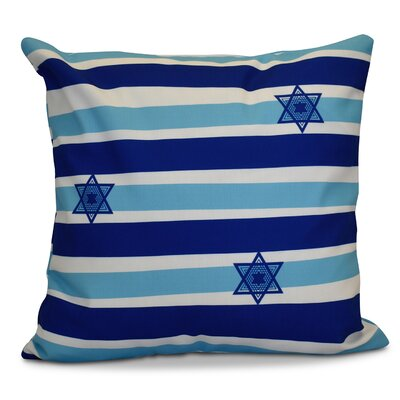 Hanukkah 2016 Decorative Holiday Striped Euro Pillow Color: Light Blue
