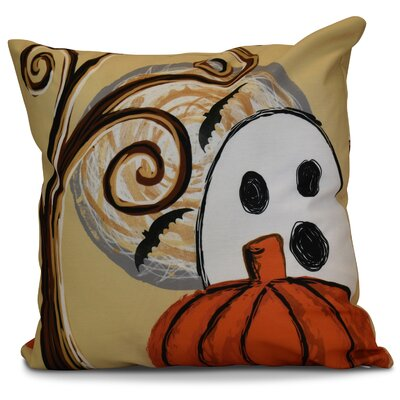 Flipping for Fall Ooky Spooky Outdoor Throw Pillow Size: 20 H x 20 W x 2 D, Color: Gold