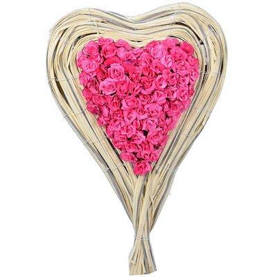 Rose Heart Floral Arrangement in Basket Color: Pink HLDY6845 34619529