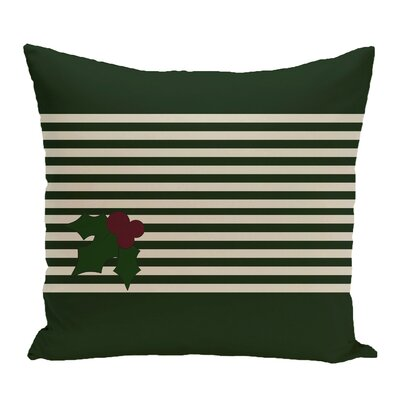 Holly Stripe Decorative Throw Pillow Color: Dark Green / Ivory, Size: 18 H x 18 W