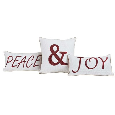 Vintage Stripe 3 Piece Peace & Joy Cotton Pillow Set