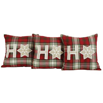 HO HO Holiday 3 Piece Throw Cotton Pillow Set