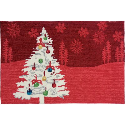 Shimmering Christmas Tree Red Area Rug