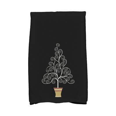 Filigree Tree Hand Towel Color: Black