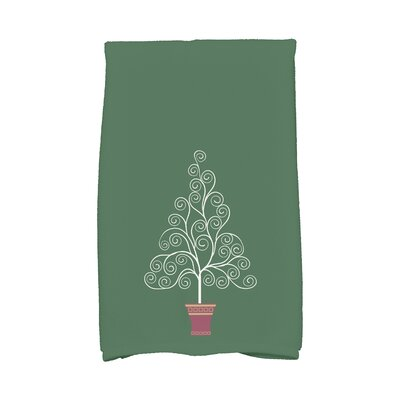 Filigree Tree Hand Towel Color: Green