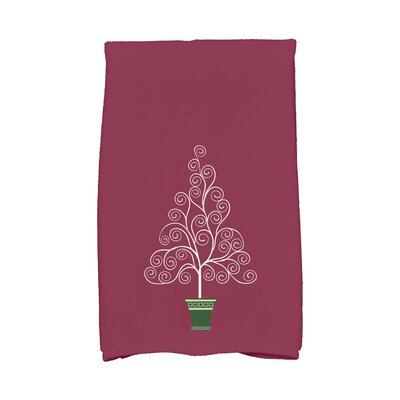 Filigree Tree Hand Towel Color: Burgundy