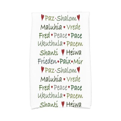 Words of Peace Word Print Hand Towel Color: Green