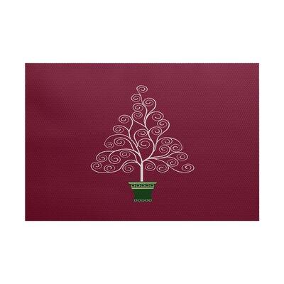 Filigree Tree Burgundy Indoor/Outdoor Area Rug Rug Size: 3 x 5