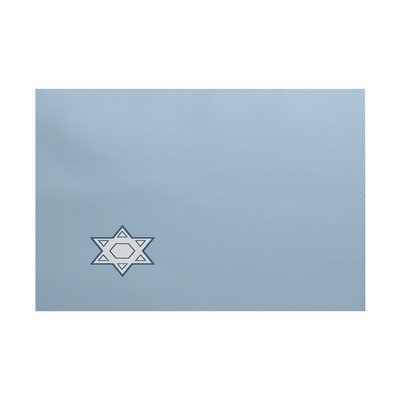 Stars Corner Geometric Print Light Blue Indoor/Outdoor Area Rug Rug Size: 5 x 7