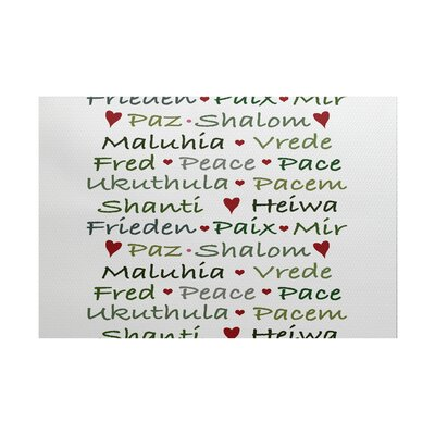 Words of Peace Word Print White/Green Indoor/Outdoor Area Rug Rug Size: 3 x 5