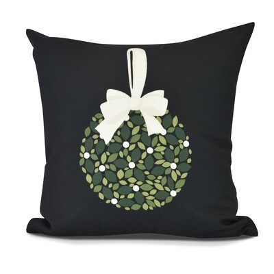 Mistletoe Me Floral Print Outdoor Throw Pillow Size: 16 H x 16 W, Color: Black