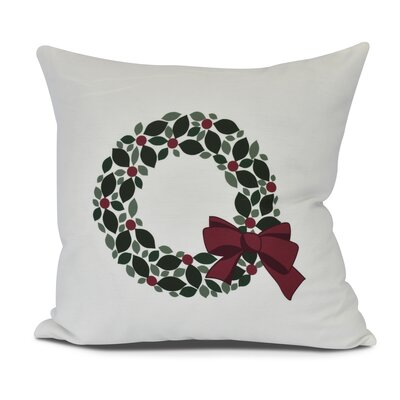 Holly Wreath Floral Print Outdoor Throw Pillow Size: 16 H x 16 W