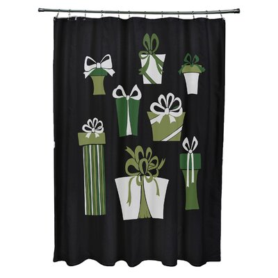 Present Time Shower Curtain Color: Black