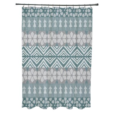 Fair Isle Geometric Print Shower Curtain Color: Teal
