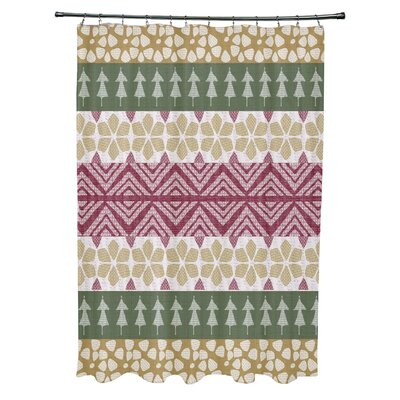 Fair Isle Geometric Print Shower Curtain Color: Green