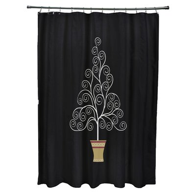 Filigree Tree Shower Curtain Color: Black