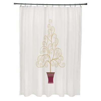 Filigree Tree Shower Curtain Color: Off White