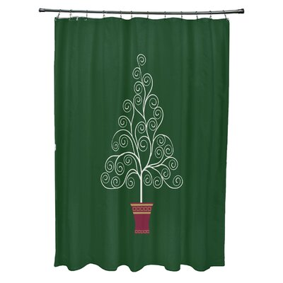 Filigree Tree Shower Curtain Color: Green